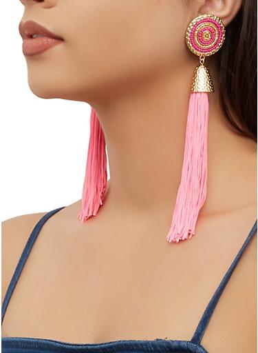 Beaded Metallic Detail Tassel Drop Earrings,NEON PINK,large