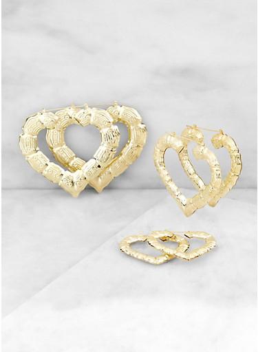 Variegated Bamboo Heart Hoop Earrings,GOLD,large
