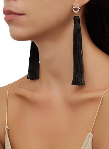 Rhinestone Detail Tassel Drop Earrings,BLACK,large