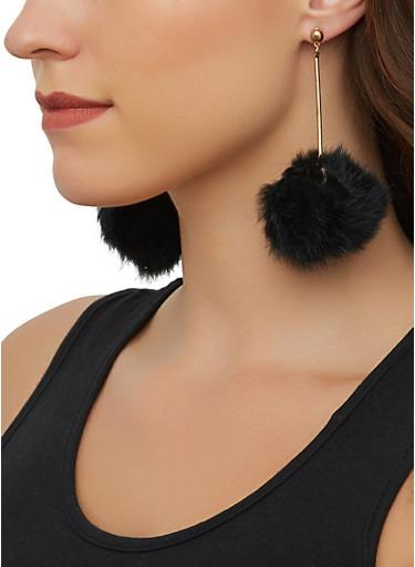 Pom Pom Stick Earrings,BLACK,large