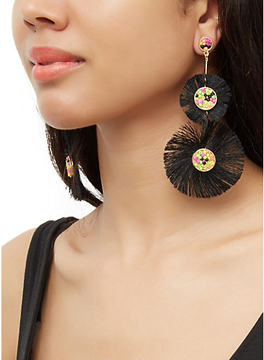 Double Beaded Fringe Drop Earrings,BLACK,large