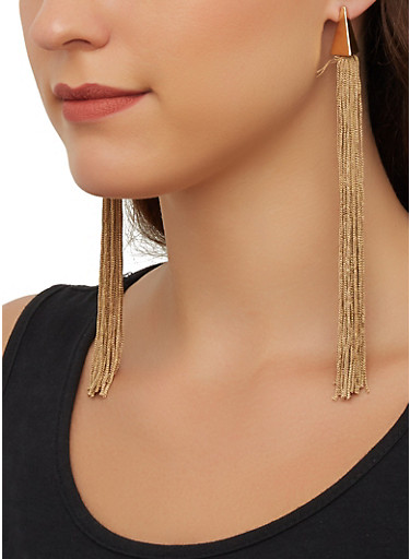Pyramid Tassel Earrings,KHAKI,large