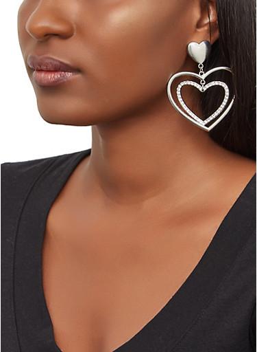 Double Heart Drop Earrings,SILVER,large