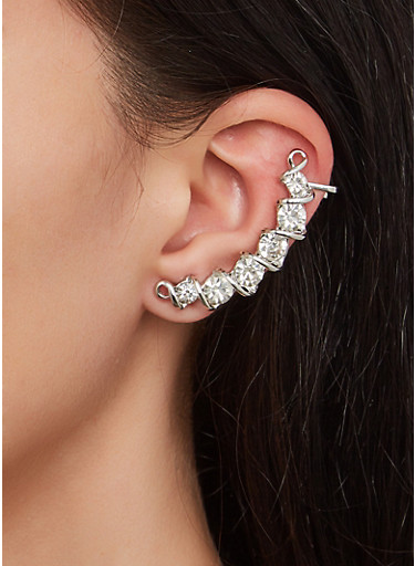 Metallic Rhinestone Ear Cuffs,SILVER,large