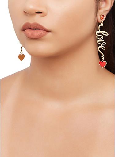 Love Heart Drop Earrings,RED,large