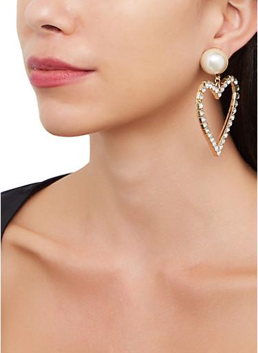 Oversized Heart Drop Earrings,GOLD,large