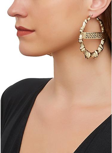 Boss Babe Metallic Bamboo Hoop Earrings,GOLD,large
