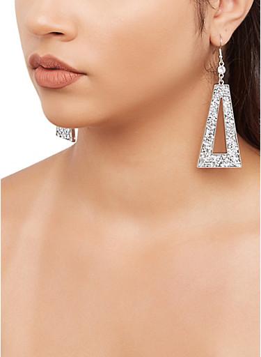 Jewel Encrusted Triangle Drop Earrings,SILVER,large