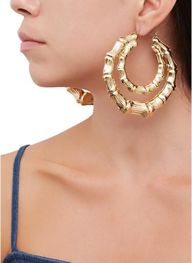 Metallic Double Bamboo Hoop Earrings,GOLD,large