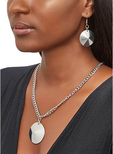 Disc Chain Necklace and Earrings,SILVER,large