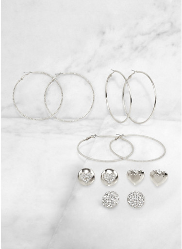 Heart Button Stud and Hoop Earrings Set,SILVER,large