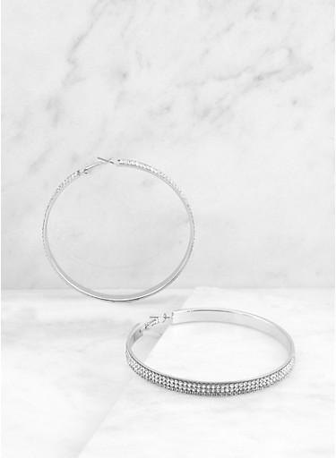 Rhinestone Hoop Earrings | 3135071433311,SILVER,large