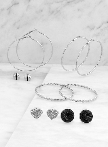 Hoop and Large Stud Earrings Set,SILVER,large