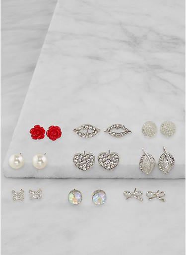 Assorted Rhinestone Stud Earrings Set,SILVER,large