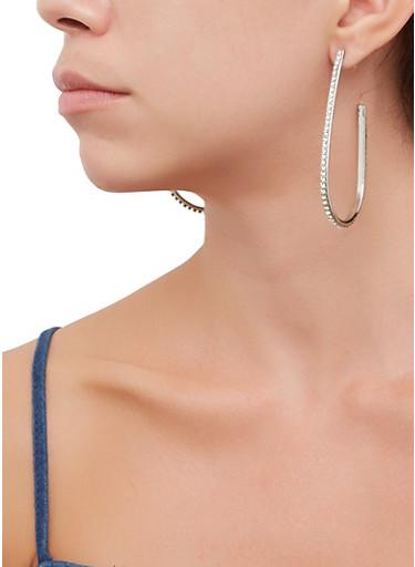 Rhinestone Hook Earrings,SILVER,large