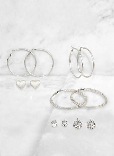 Rhinestone Cluster Stud and Metallic Hoop Earrings,SILVER,large