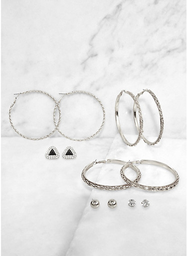 Assorted Textured Hoop and Stud Earrings,SILVER,large