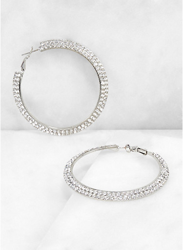 Two Row Rhinestone Hoop Earrings,SILVER,large