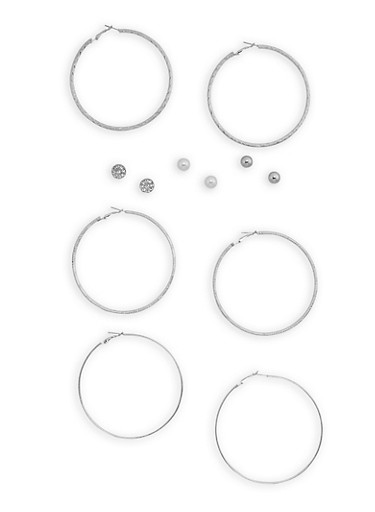 Set of 6 Stud and Textured Hoop Earrings,SILVER,large