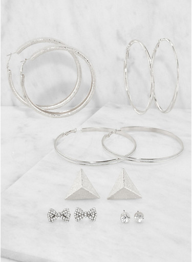 Set of 6 Metallic Hoop and Stud Earrings,SILVER,large