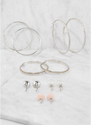 Set of Reversible Stud and Hoop Earrings,SILVER,large