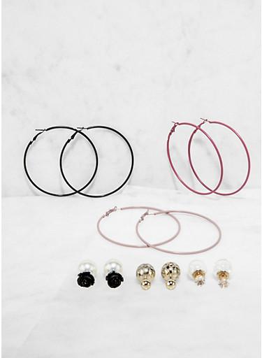 Reversible Stud and Hoop Earrings Set,RED,large