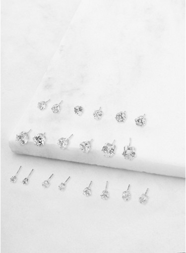 Set of 10 Assorted Cubic Zirconia Stud Earrings,SILVER,large