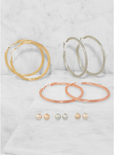 Set of Metallic Mesh Hoop and Stud Earrings,TRITONE (SLVR/GLD/HEMAT),large