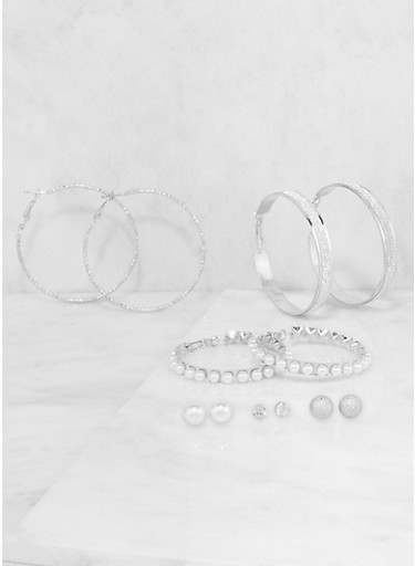 Set of Assorted Faux Pearl Stud and Hoop Earrings,SILVER,large