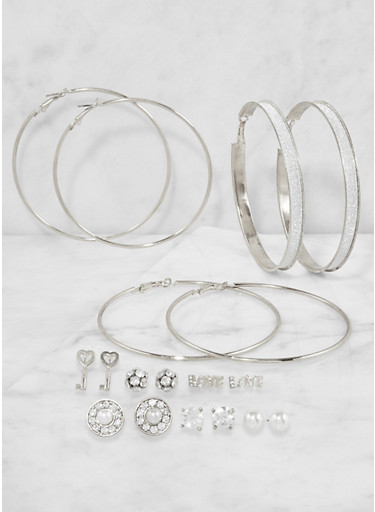 Assorted Rhinestone Stud and Hoop Earrings Set,SILVER,large
