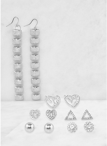 Metallic Stud and Glitter Drop Earrings Set,SILVER,large