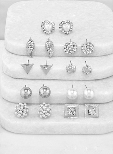 9 Assorted Stud Earrings,SILVER,large