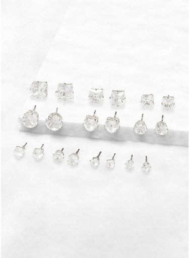 Set of 10 Cubic Zirconia Stud Earrings,SILVER,large