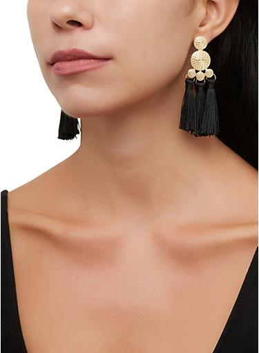 Metallic Disc Triple Tassel Earrings,BLACK,large
