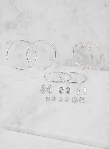 Set of 9 Assorted Hoop and Stud Earrings,SILVER,large