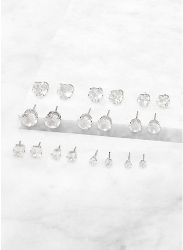 Cubic Zirconia Stud Earrings Set,SILVER,large
