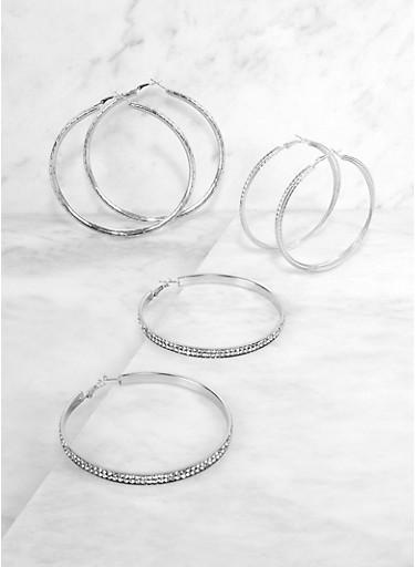 Rhinestone Textured Hoop Earrings Set,SILVER,large