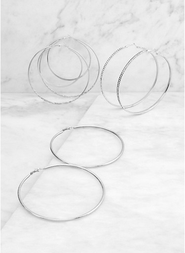 Jumbo Metallic Hoop Earring Trio,SILVER,large