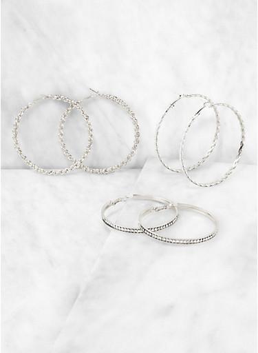 Chain Hoop Earring Trio,SILVER,large