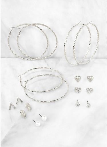 Metallic Stud and Hoop Earrings,SILVER,large