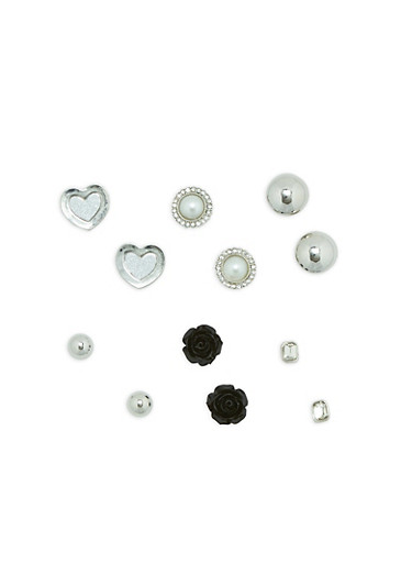 Set of 6 Multi Studded Earring Set,SILVER,large