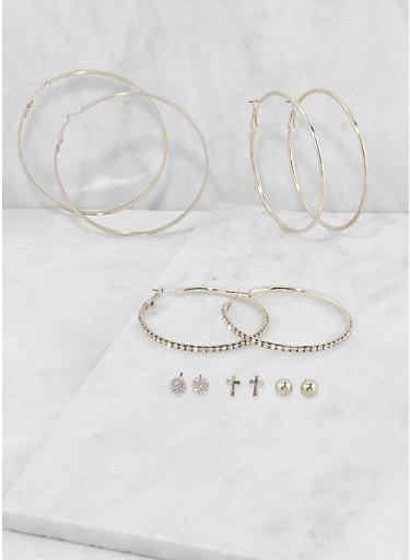Assorted Rhinestone Hoop and Stud Earrings Set,SILVER,large