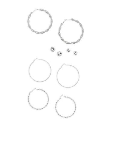 Textured Hoop and Stud Earrings,SILVER,large