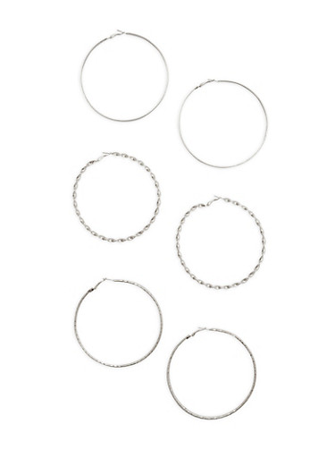 Assorted Large Metallic Hoop Earring Trio,SILVER,large