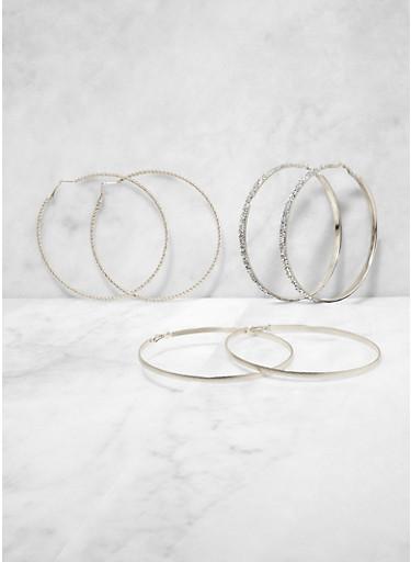 Metallic Oversized Hoop Earring Trio | 3135073841366,SILVER,large