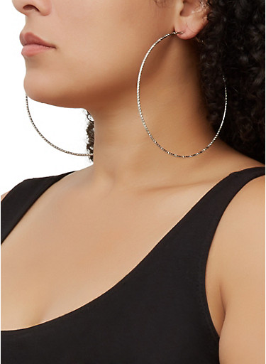 Textured Oversized Hoop Earring Trio | 3135073841500,SILVER,large