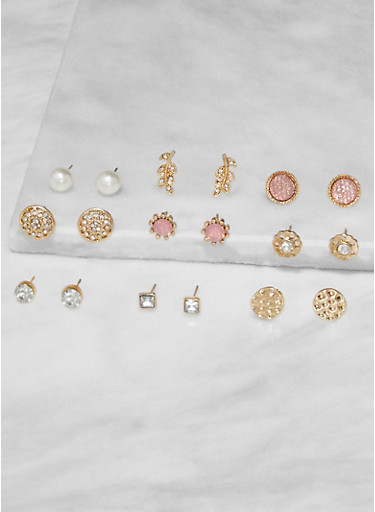 Set of 9 Assorted Stud Earrings,GOLD,large