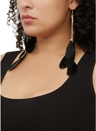 Feather Drop Earrings   3135073846322,BLACK,large