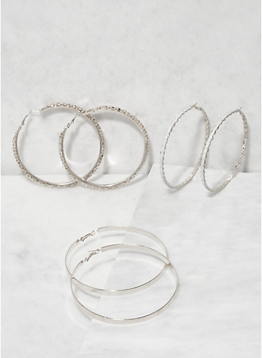 Metallic Hoop Earring Trio,SILVER,large