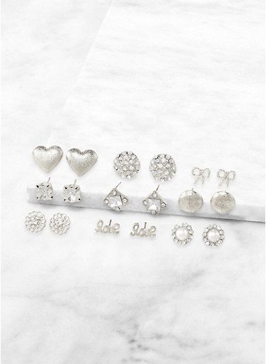 9 Assorted Love Stud Earrings,SILVER,large